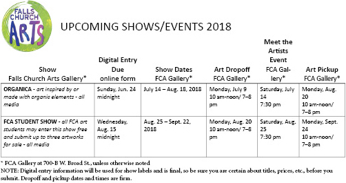 768664ea8a Plan ahead info for artists - 2018 show/events dates (rev.) - Falls Church  Arts