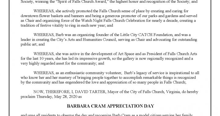 Barb Cram Appreciation Day proclamation