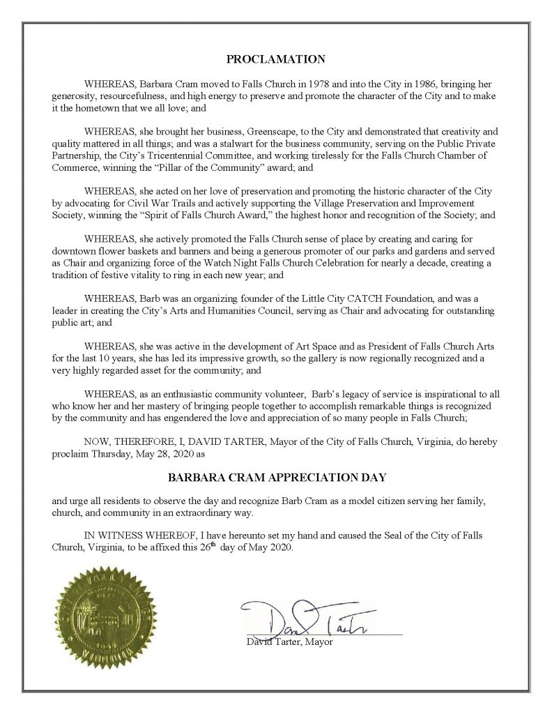 Barb Cram Appreciation Day proclamation